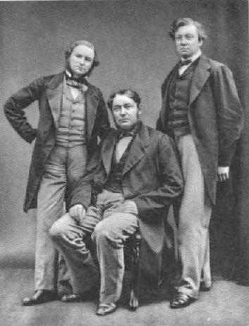 Первооткрыватели цезия: Густав Кирхгофф (слева) и Роберт Бунзен (в центре)