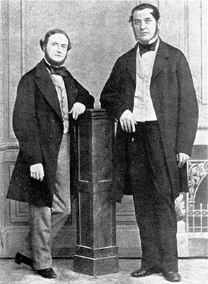 Густав Роберт Кирхгоф (слева) и Роберт Вильгельм Бунзен - первооткрыватели спектрального анализа