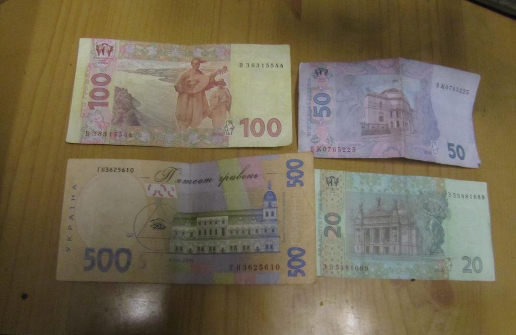 Купюры 20, 50, 100 и 500 гривен в ультрафиолетовом свете