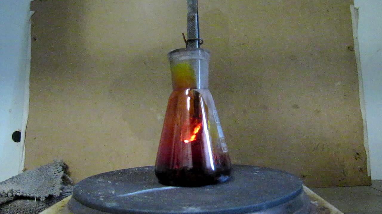 Горение алюминиевой пудры в парах серы