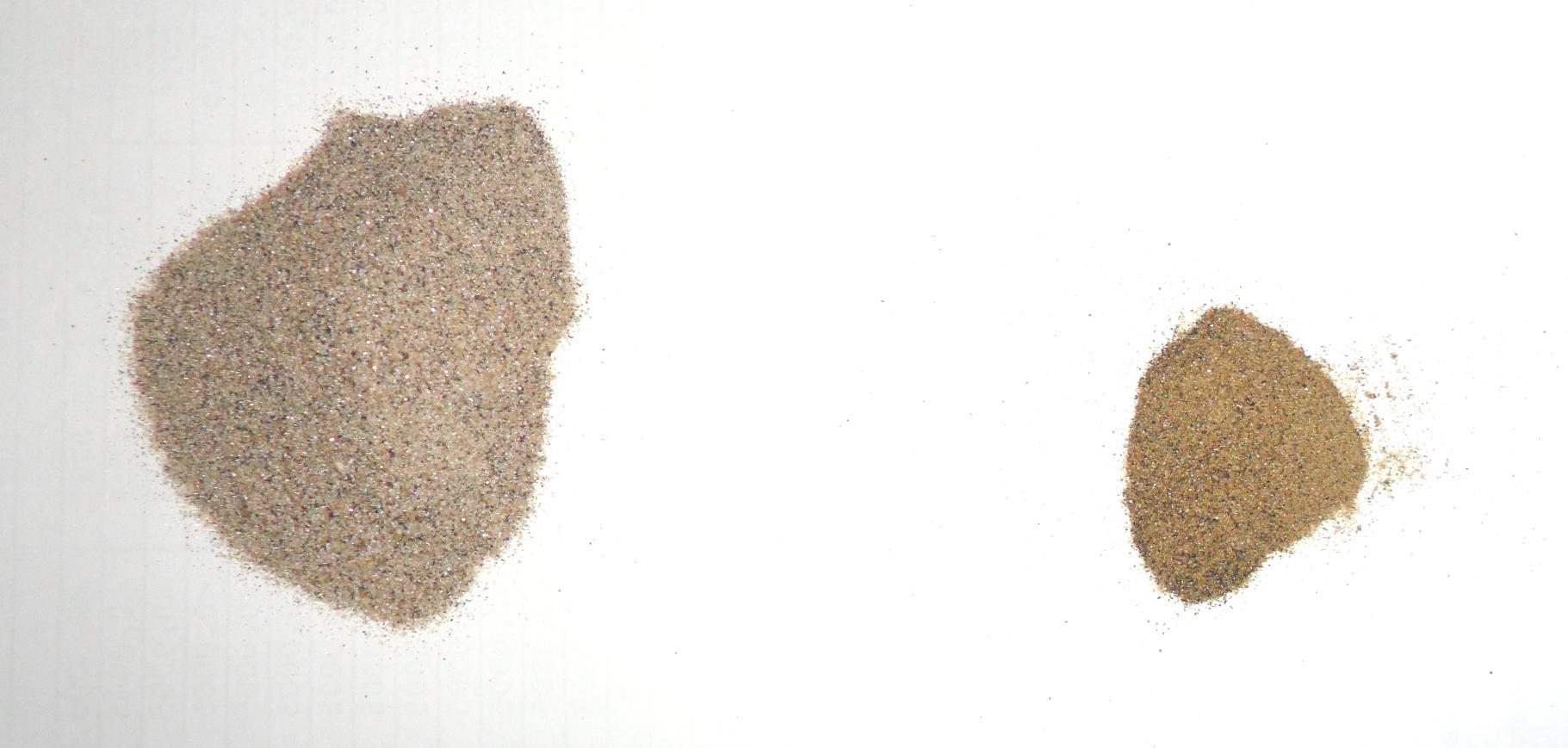 Немагнитные фракции черного песка: весьма слабо магнитный монацит (справа) и совершенно немагнитный циркон (слева)