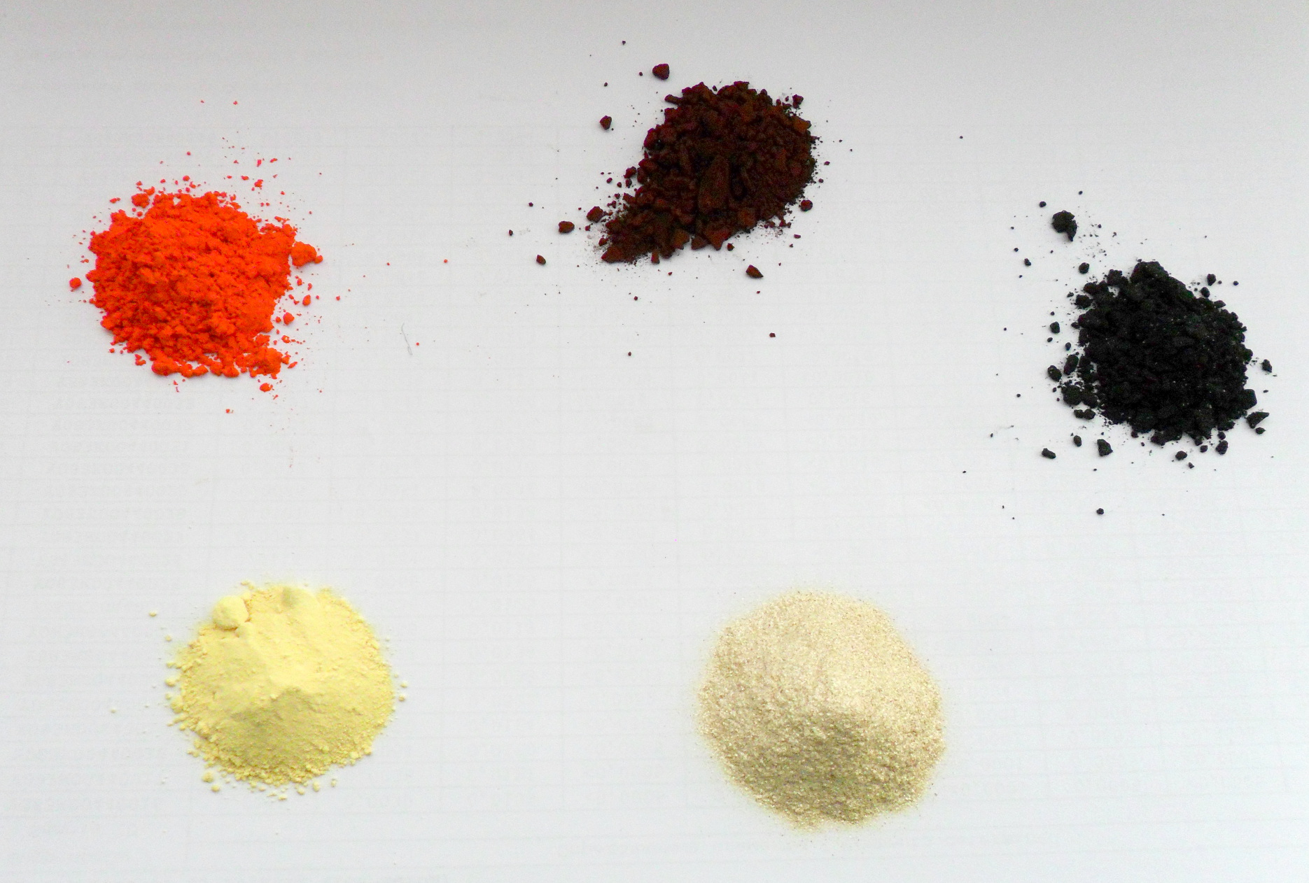 Оксиды и сульфид свинца. С левого нижнего угла по часовой стрелке: желтый оксид свинца (массикот, β-PbO); оранжевый сурик (ортоплюмбат свинца Pb(II)2Pb(IV)O4, чаще просто записываемый как Pb3O4); оксид свинца (IV), иногда ошибочно называемый ''перекисью'' свинца (получен как остаток от растворения сурика в уксусной кислоте в отсутствие окислителей); мелкокристаллический сульфид свинца, полученный гомогенным осаждением тиомочевиной из кипящего щелочного раствора гидроксоплюмбита натрия (блестящие частицы - кусочки ''сульфидного зеркала'', осевшего на стенках реакционного сосуда); оксид свинца (II), выпавший и недорастворившийся при реакции уксуснокислого свинца с NaOH (в основном желтые пластинчатый кристаллы с небольшой примесью красных, более мелких и плотных, частиц).