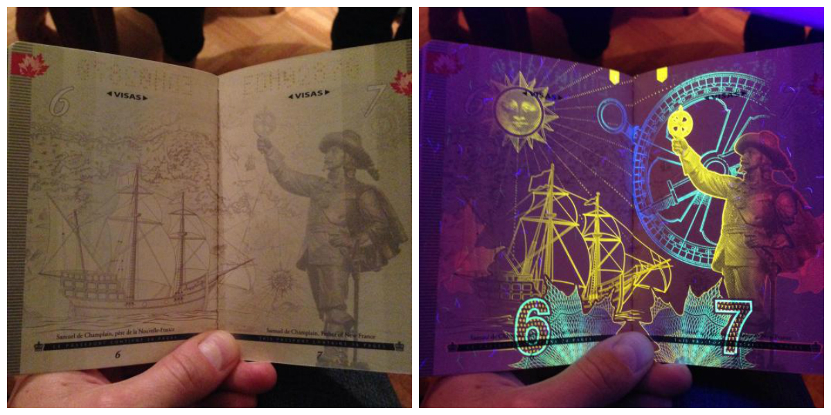 Канадский паспорт в ультрафиолетовом свете. Canadian passport under UV light