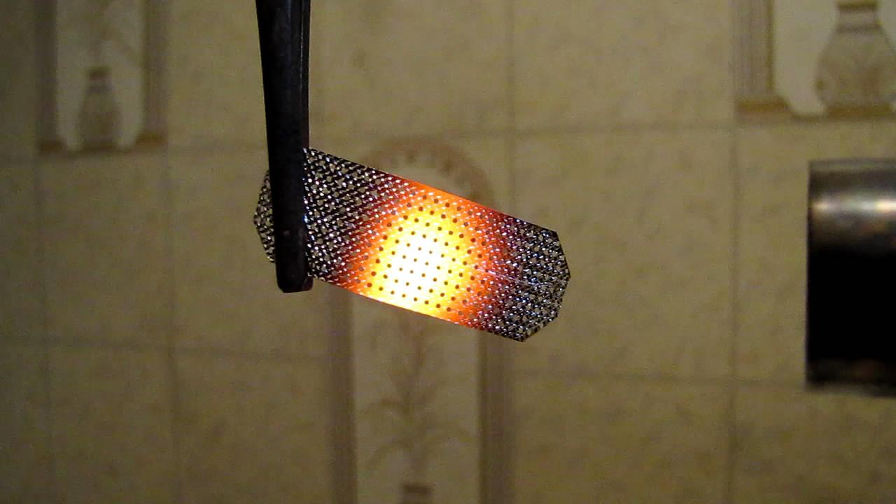 Каталитическое горение пропан-бутановой смеси над платиной (сетка). Catalytic combustion of propane-butane mixture over platinum (grid)