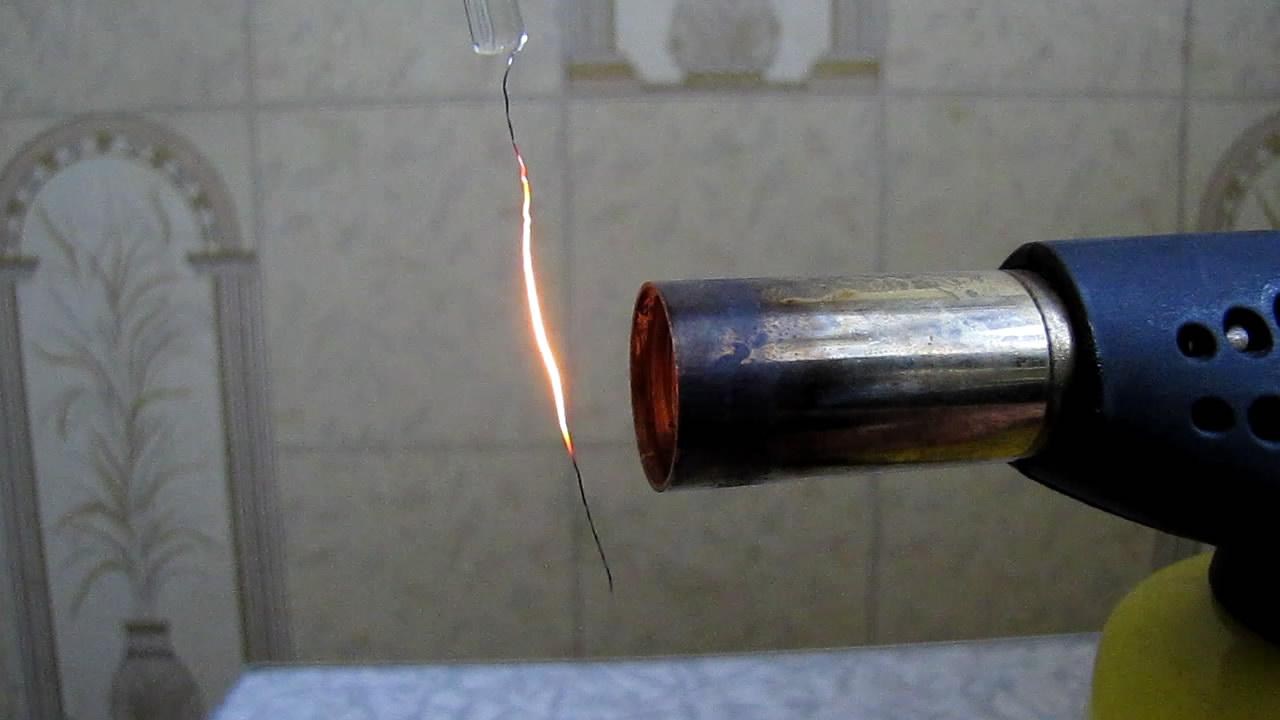 Каталитическое горение пропан-бутановой смеси над платиной (проволока). Catalytic combustion of propane-butane mixture over platinum (wire)