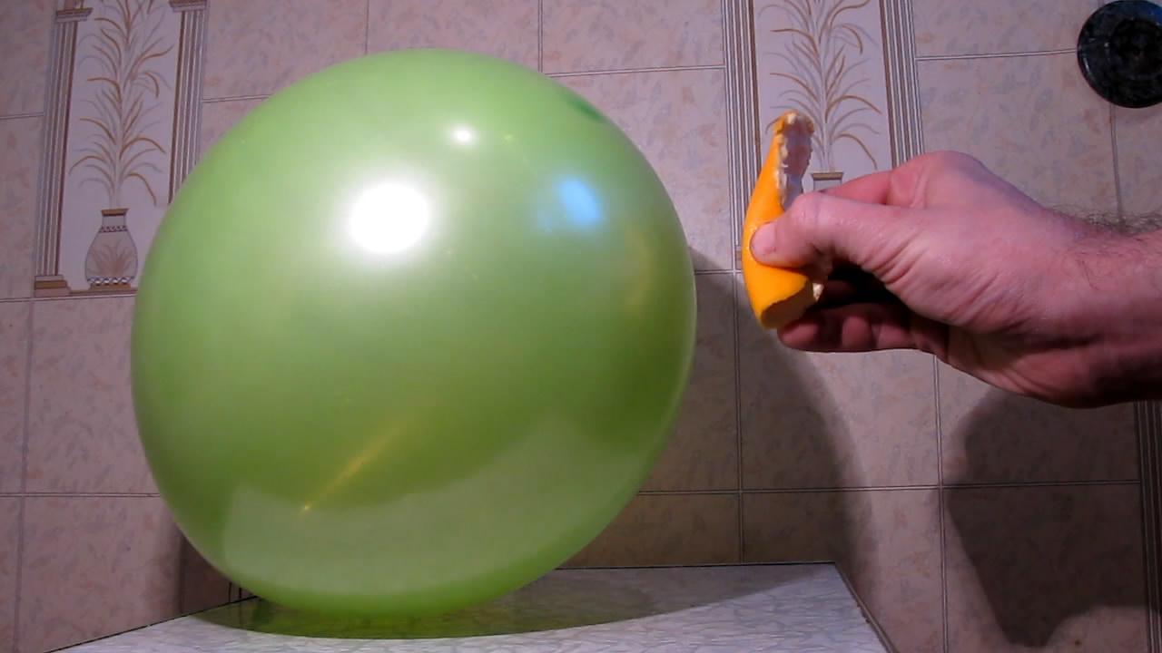 Апельсин, воздушный шарик и горелка Бунзена. Orange, balloon and Bunsen burner
