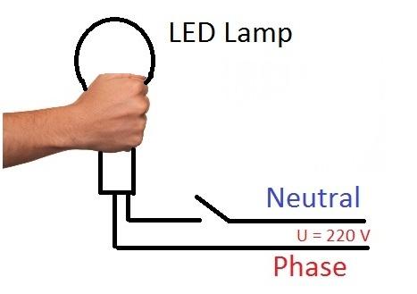 LED-лампа и рука. LED-lamp and hand