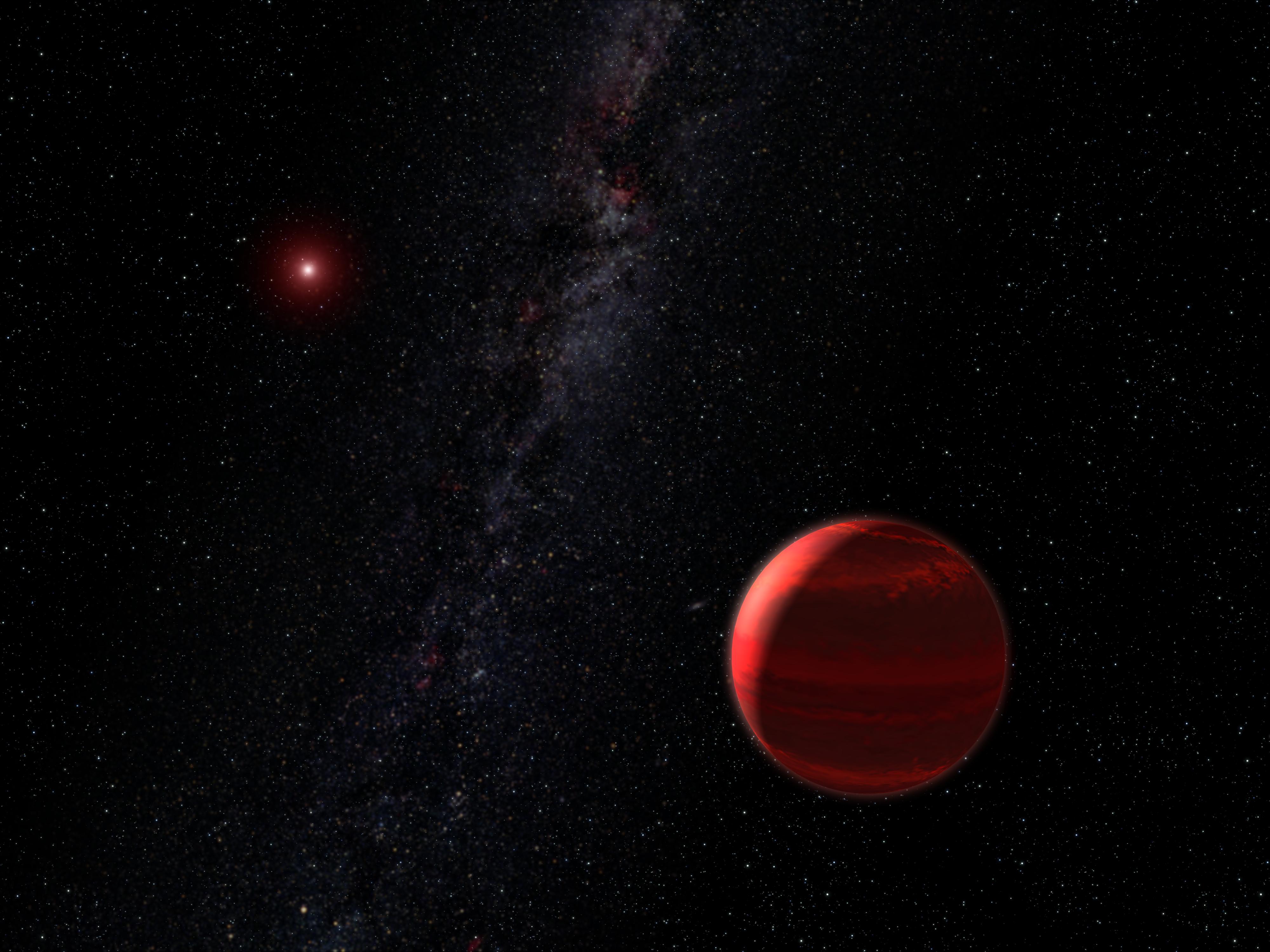 Газовый гигант, вращающийся по орбите вокруг красного карлика (рисунок художника)