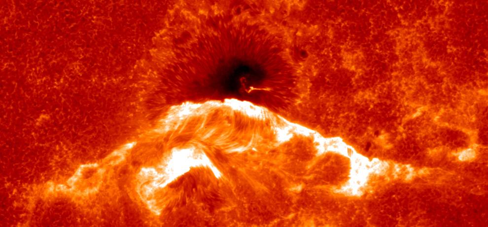 Аппарат Hinode сделал снимок Солнца в момент массовых вспышек
