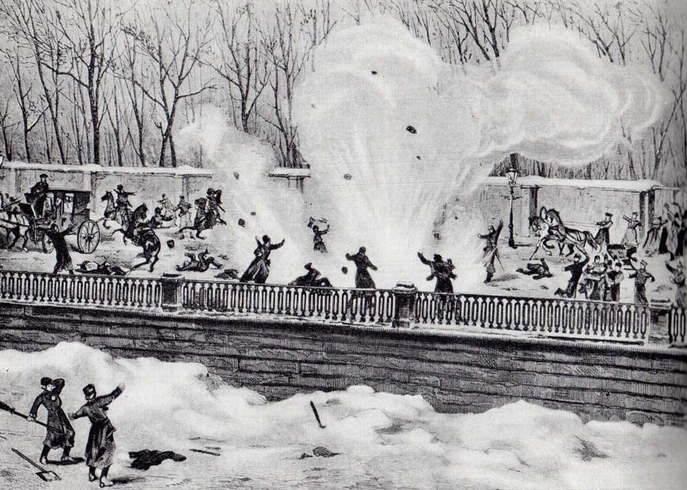 Покушение на Александра II. Взрыв снаряда на Екатерининском канале 1 марта 1881 г. Гравюра на дереве, 1881 г.