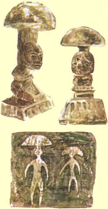 Ритуальные грибообразные статуэтки древних майя и ацтеков из Центральной Америки. Наскальные изображения человекоподобных мухоморов из Чукотского Заполярья