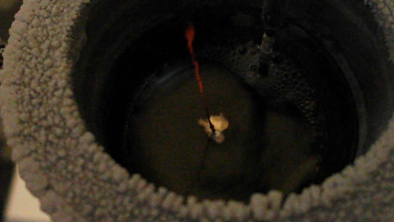 Электролиз  расплава едкого кали (образование и горение калия)