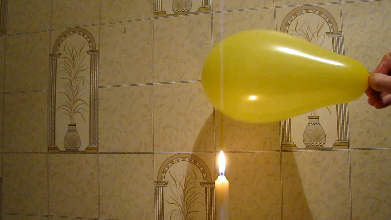 Balloon, Water and Fire (Candle). Воздушный шарик, свеча и вода