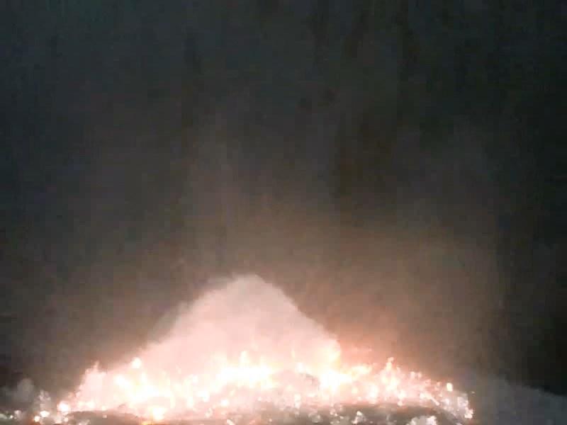 Горение смеси: гипофосфит кальция - пероксодисульфат калия. Burning of miture: calcium hypophosphite - potassium peroxodisulfate