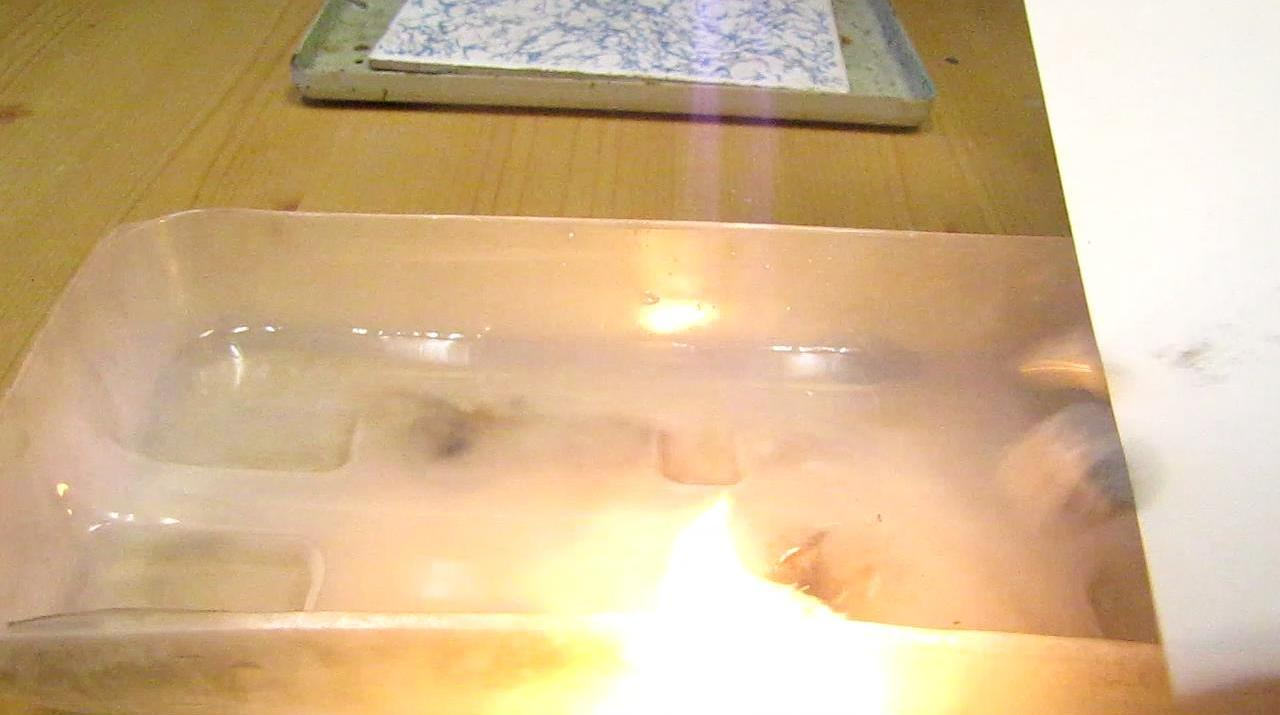 Реакция магния с поташом - образование и горение калия