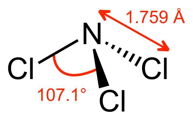 Структура молекулы хлористого азота