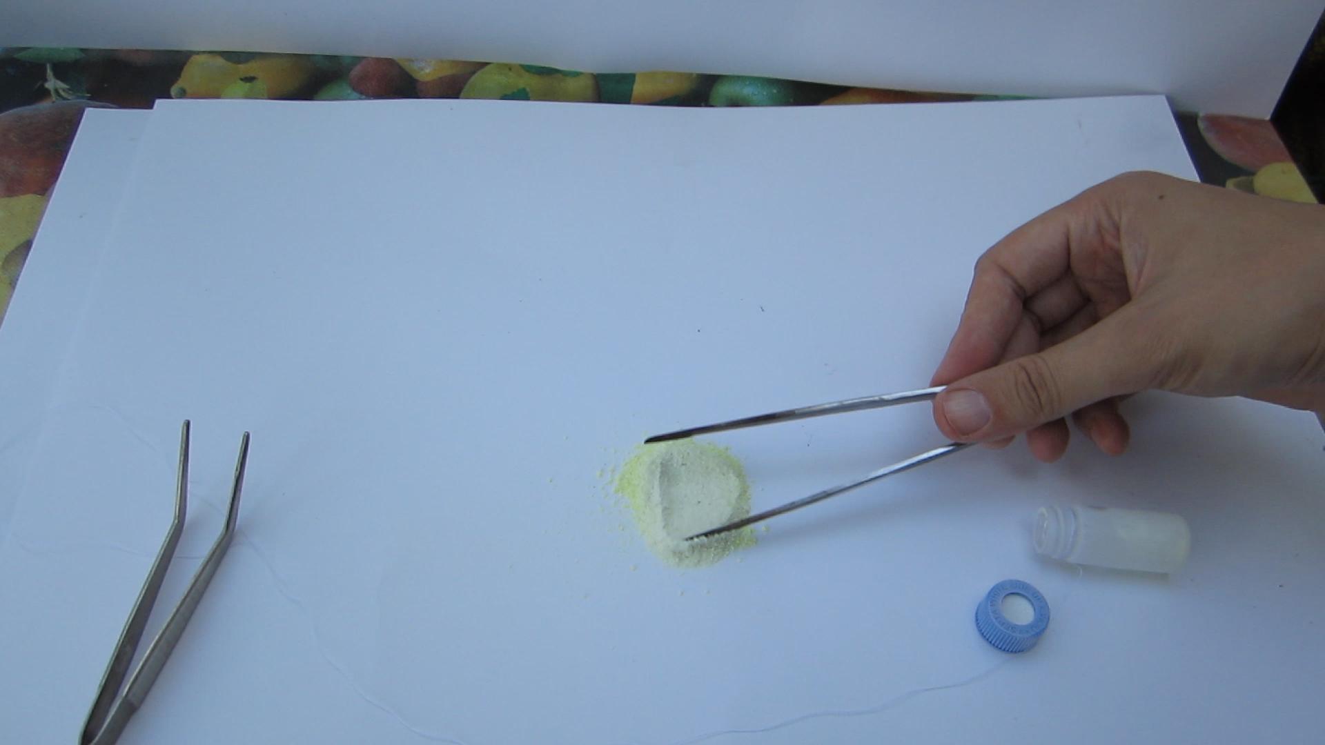 Изменение цвета серы при охлаждении жидким азотом