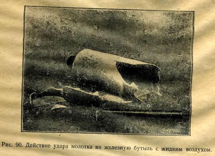 Действие удара молотка на железный сосуд с жидким воздухом