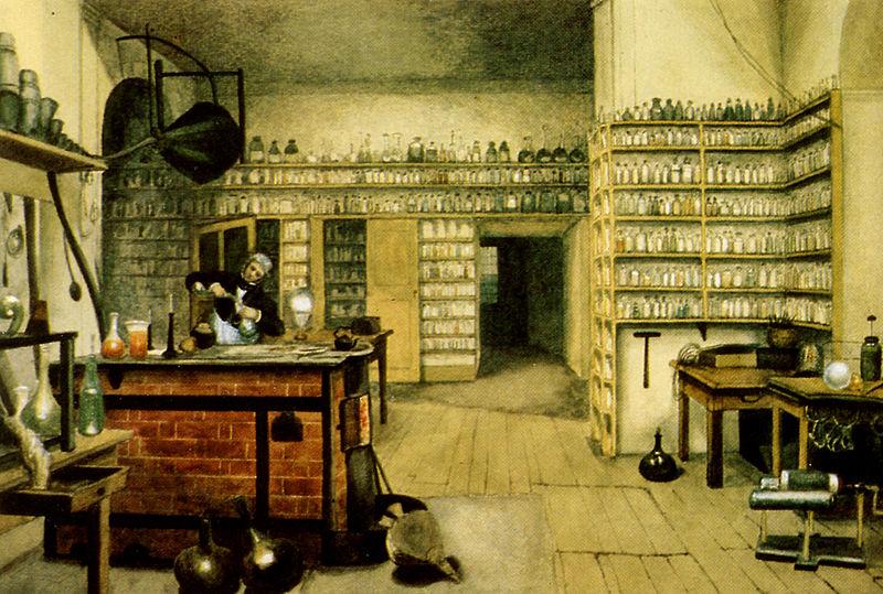 Майкл Фарадей в лаборатории