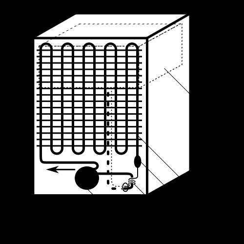 Расположение основных частей холодильного агрегата бытового холодильника