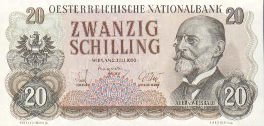 Карл Ауэр фон Вельсбах на 20-ти шиллинговой банкноте (1956).