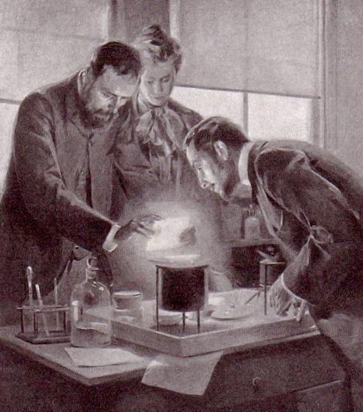 Мария и Пьер Кюри работают с радием