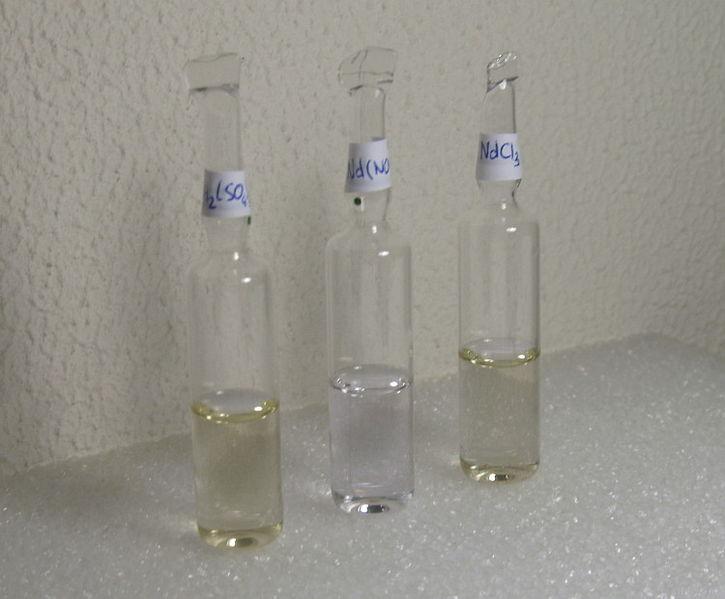 Сульфат, хлорид и нитрат неодима (растворы)