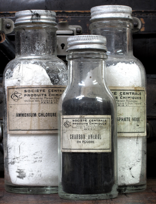 Хлорид аммония  и уголь животный