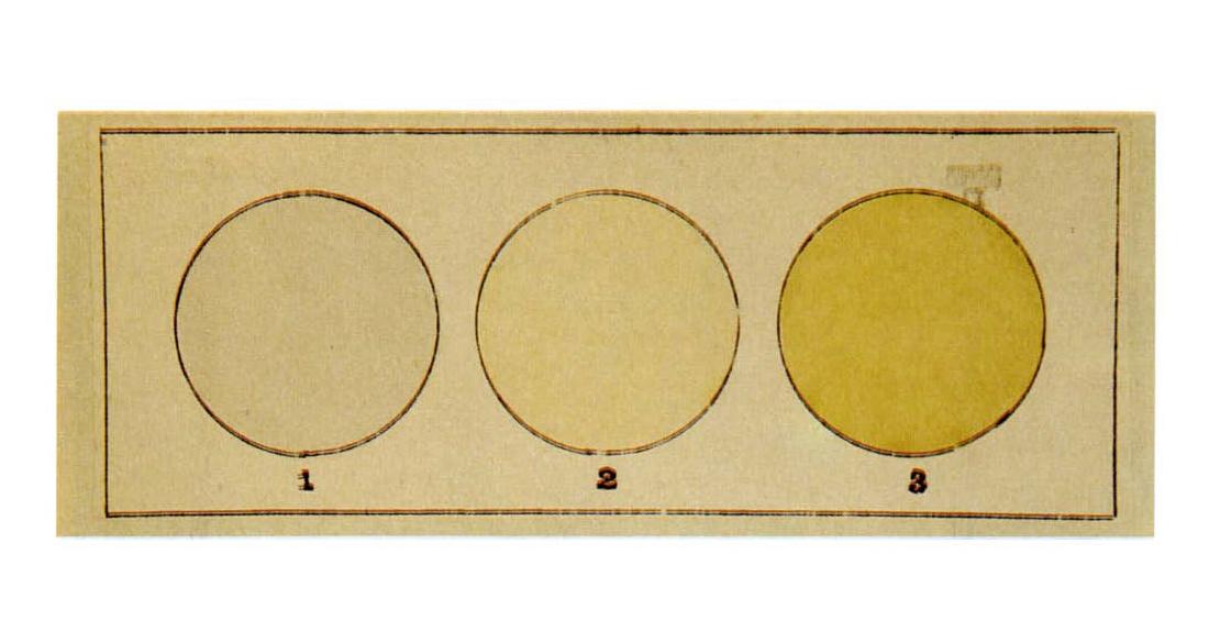 Цвет газообразного фтора (2), по сравнению с воздухом (1) и хлором (3)