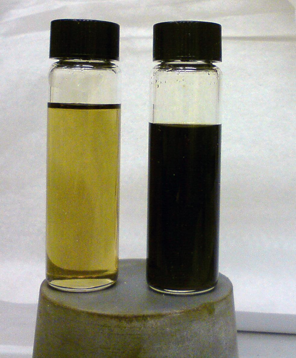 После  азотки.  Полученные  растворы  нептуния  затем  кипятили  в концентрированной  азотной  кислоте  для  окисления  возможных  следов  органических соединений,  попавших  в  растворы  с  колонки.  В  результате  получились  растворы содержащие смесь пяти- и шестивалентного нептуния. Представлены растворы разной концентрации.