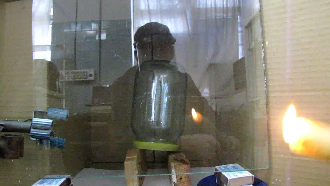 Взрыв гремучего газа в стеклянных сосудах