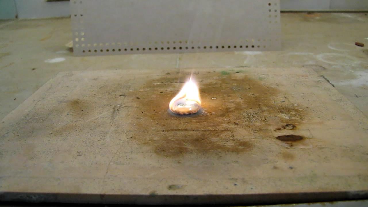 Плавление и горение калия