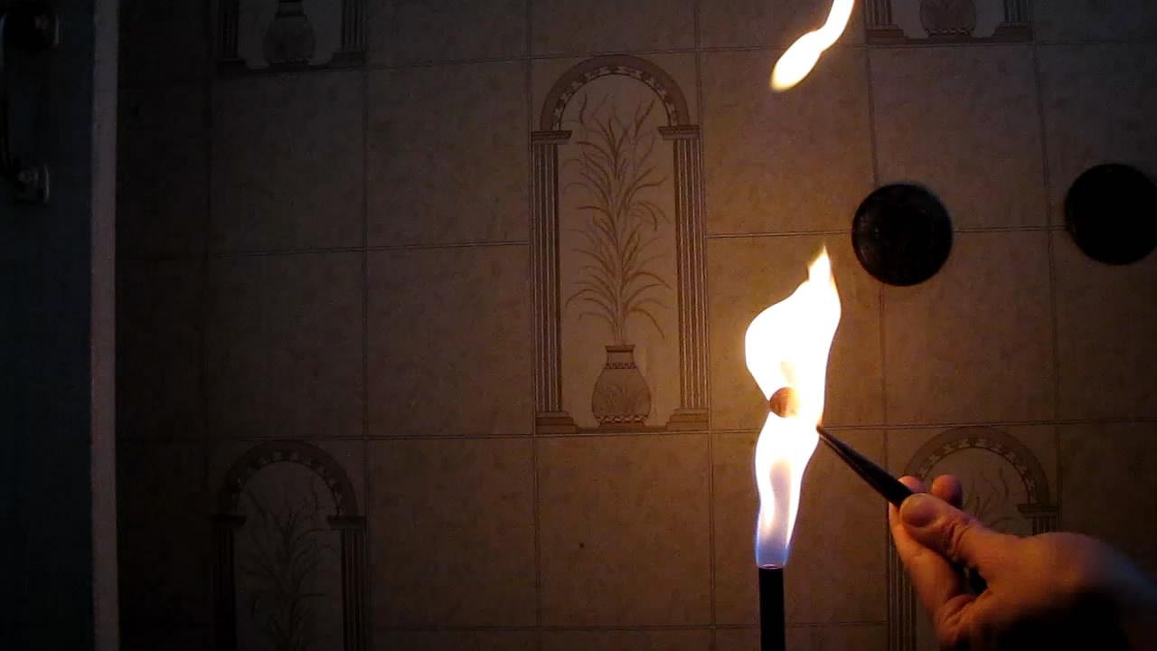 Пламя горелки - поддув воздуха