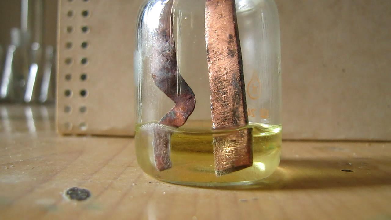 Электролиз с переменным током (соляная кислота, медные электроды)