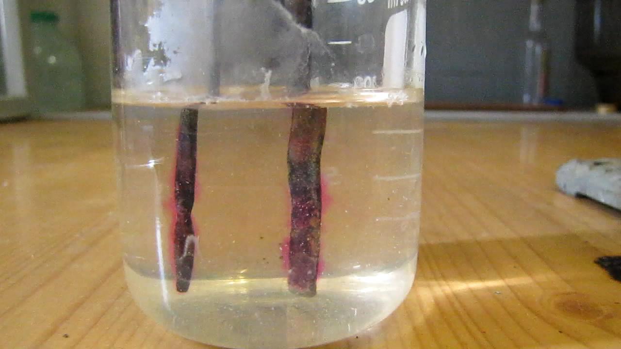 Электролиз с переменным током (хлорид натрия, железный и медный электроды)