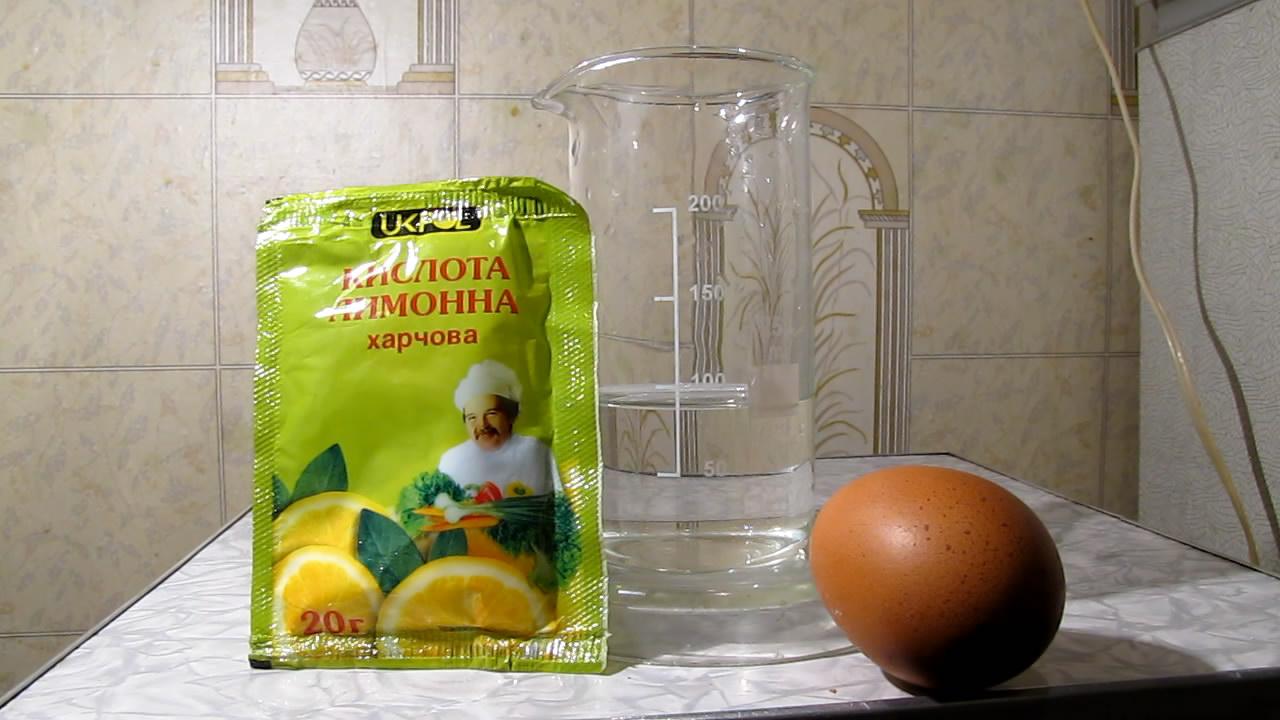 Куриное яйцо и лимонная кислота. Chicken egg and citric acid