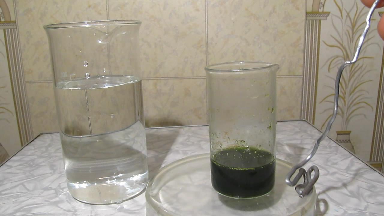 Осаждение металлического железа из раствора хлорида железа. Precipitation of metallic iron from solution of iron chloride