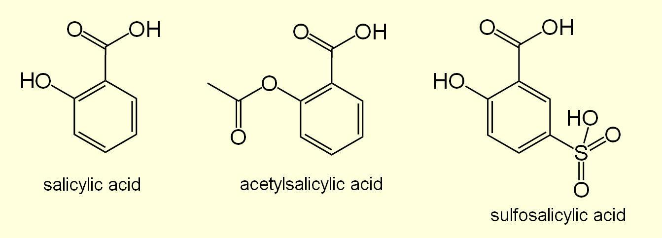 Салициловая кислота, ацетилсалициловая кислота и сульфосалициловая кислота