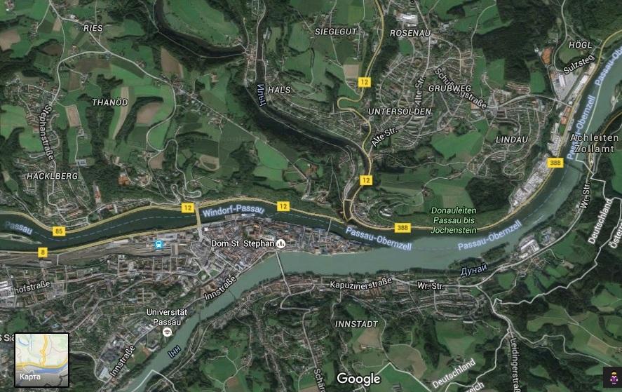 Тройное слияние рек: Ильц (Ilz), Дунай и Инн (Пассау, Германия). Tripple confluence: Ilz, Danube, and Inn Rivers (Passau, Germany)