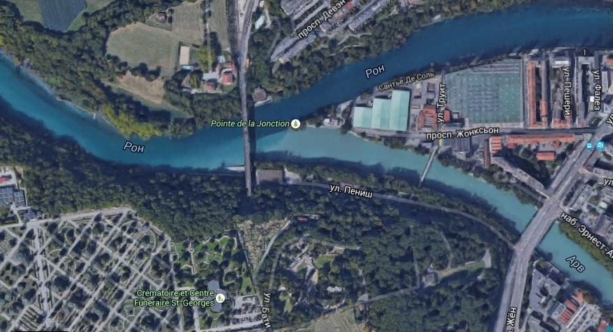 Слияние рек Рона и Арв (Женева, Швейцария). Confluence of Rhone and Arve Rivers in Geneva, Switzerland