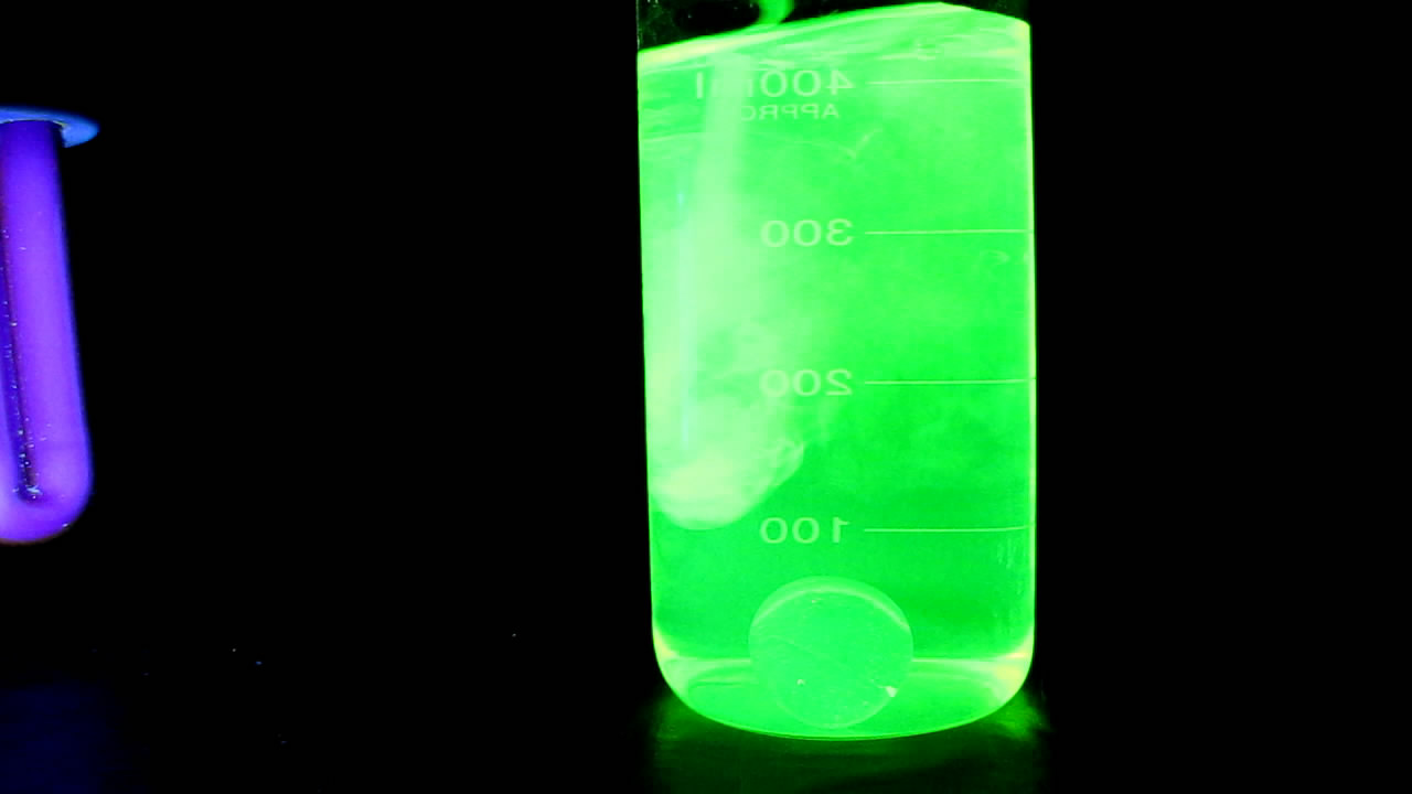 Урановое стекло и флуоресцеин. Uranium glass and fluorescein