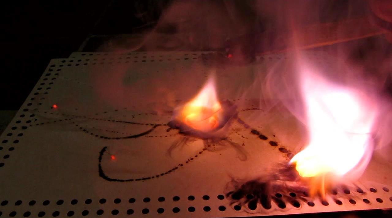 Самовоспламенение калия на воздухе