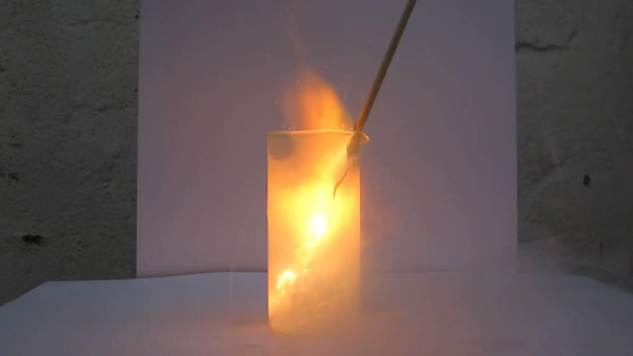 Горение лучины  в жидком кислороде