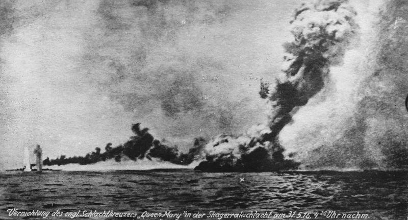 Взрыв английского линейного крейсера Queen Mary (Ютландский бой)