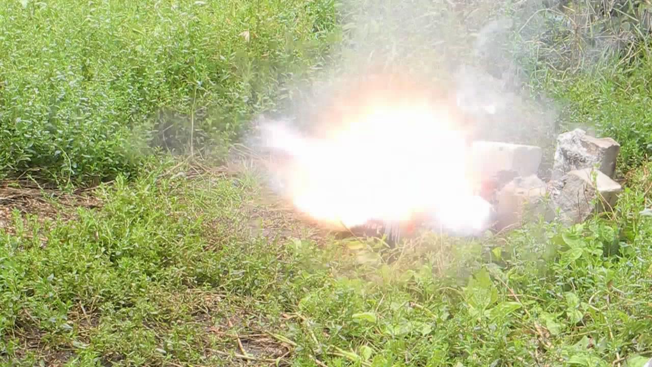 Взрыв смеси перхлорат тетраамминмеди (II) - магний, [Cu(NH3)4](ClO4)2 - Mg
