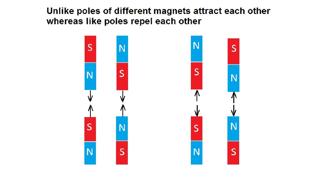 Полюса магнита (притяжение и отталкивание между полюсами магнита). Magnetic poles (attraction and detraction between magnetic poles)