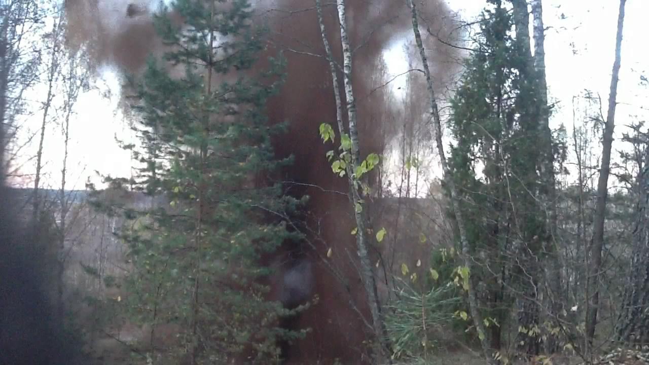Взрыв смеси: аммиачная селитра - торф. Эксперимент #10. Explosion of mixture: ammonium nitrate - peat. Experiment #10