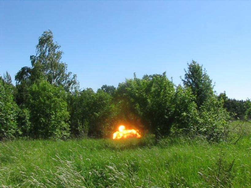 Детонирующий шнур (подрыв тротиловой шашки). Detonating cord (blasting of TNT charge)