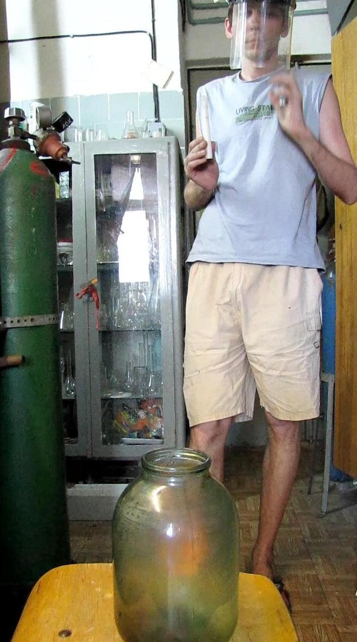 Горение водорода - банка объемом 3 л