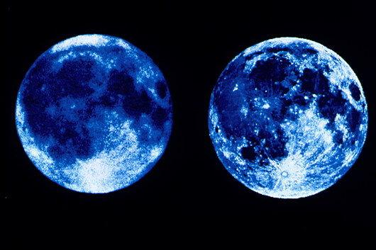 Фотография Луны в ультрафиолетовых (слева) и видимых (справа)  лучах